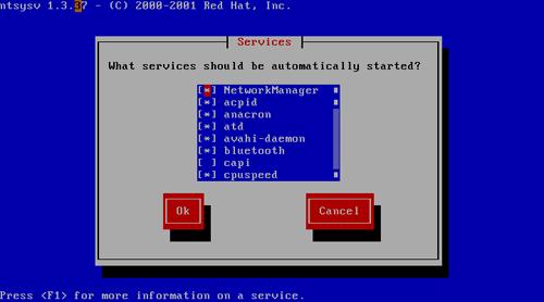 Fedora 9 - Use ntsysv to Check Start-up Services
