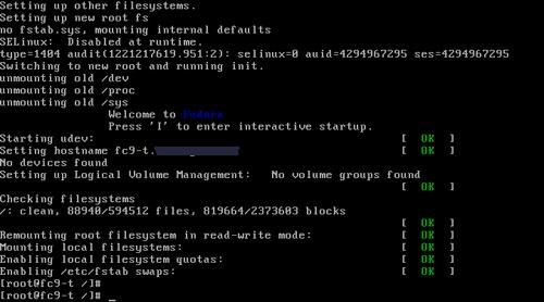 Fedora 9 Single User Shell Prompt
