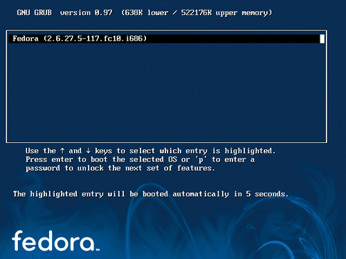 Fedora 10 display boot menu