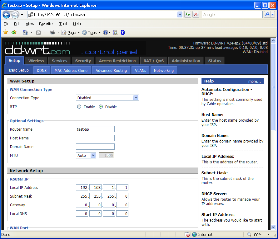 DD-WRT Basic Setup