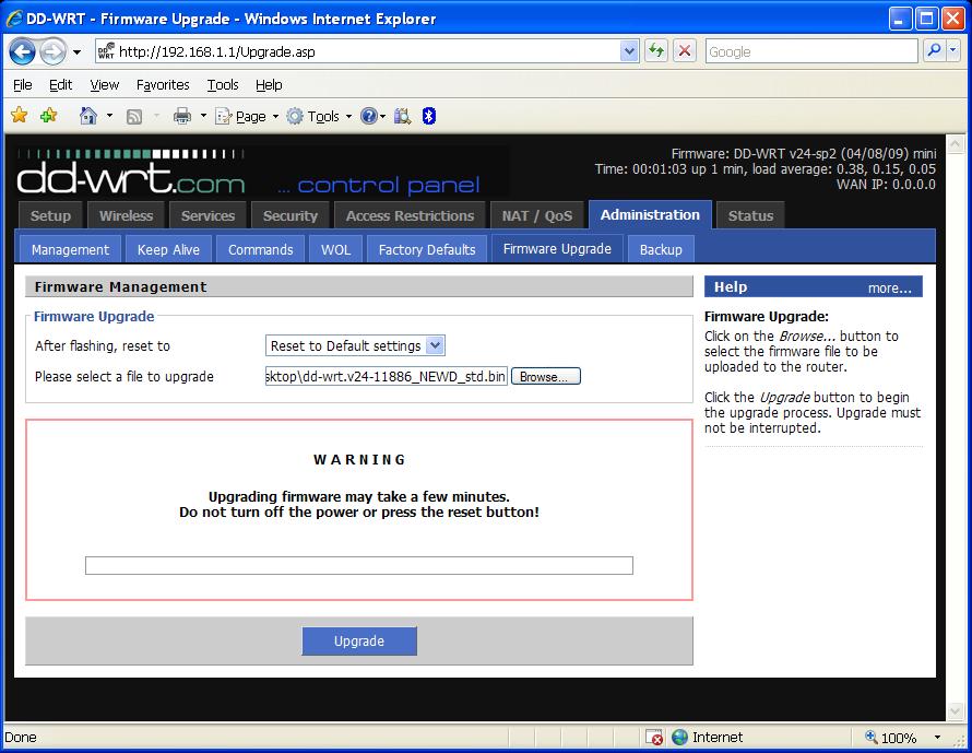 ติดตั้ง DD-WRT firmware บน Linksys WRT54GL – SpaLinux com