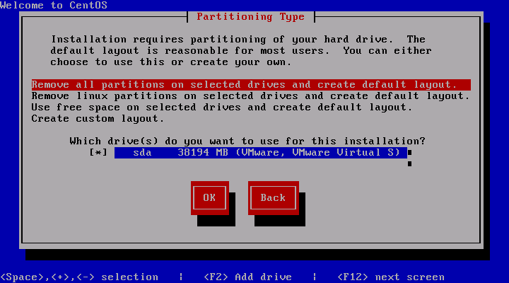 Centos 5.3 Installation Partitioning Type
