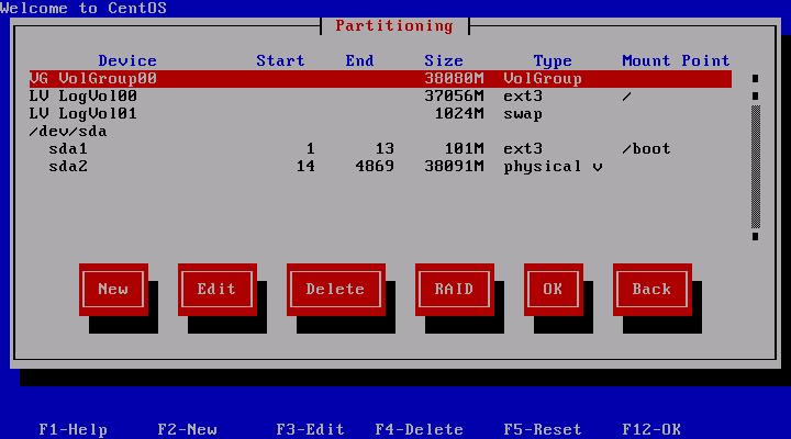 CentOS 5.3 Installation Partitoning