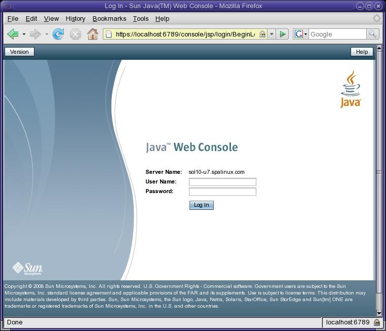 Sun Java Web Console