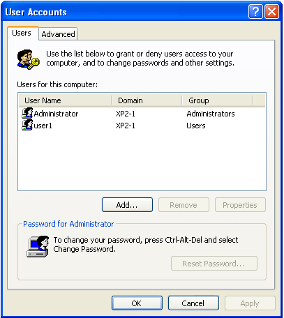 Windows Control Panel - User Accounts