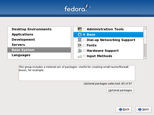 Fedora 11 - Select Only Base System
