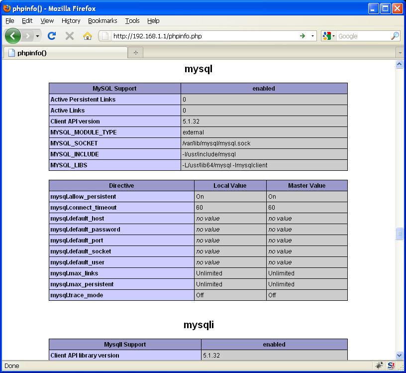 phpinfo(); MySQL module