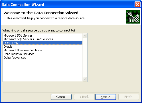 C3 Data Connection Wizard