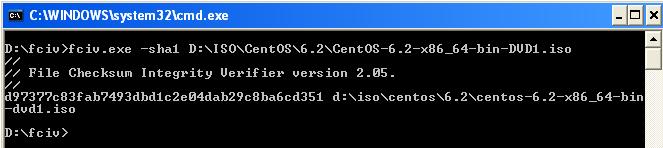 คำสั่ง fciv บน Windows เพื่อตรวจสอบความถูกต้องของไฟล์